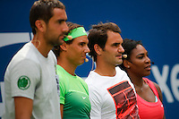 Tennis players Marin Cilic, (L), Rafael Nadal, (2nd-L) Roger Federer, (2nd-L), Serena Williams attend the Arthur ASHE kids day at the US Open 2015 in New York. 08.29.2015.  Eduardo MunozAlvarez/VIEWpress.
