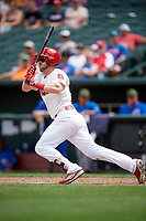Memphis Redbirds third baseman Patrick Wisdom (5) follows through on a swing during a game against the Iowa Cubs on May 29, 2017 at AutoZone Park in Memphis, Tennessee.  Memphis defeated Iowa 6-5.  (Mike Janes/Four Seam Images)