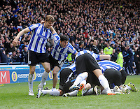 Sheffield Wednesday v Cardiff .Sky Bet Championship ....... wednesday players celebrate victory