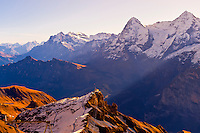 View from the Schilthorn in the Swiss Alps, Canton Bern, Switzerland
