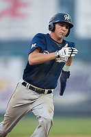 Chad McClanahan (3) of the Helena Brewers hustles towards third base against the Great Falls Voyagers at Centene Stadium on August 18, 2017 in Helena, Montana.  The Voyagers defeated the Brewers 10-7.  (Brian Westerholt/Four Seam Images)