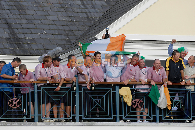 September 24th, 2006. The European Ryder Cup team celebrate winning the 2006 Ryder Cup at the K Club in Straffan,. County Kildare in the Republic of Ireland...Photo: Eoin Clarke/ Newsfile.<br />