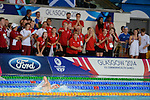 Wales Daniel Jarvis in action during the Men's 1500m Free Final with the Welsh team mates and staff shouting encouragement. <br /> <br /> Photographer Ian Cook/Sportingwales<br /> <br /> 20th Commonwealth Games -Swimming -  Day 6 - Tuesday 29th July 2014 - Glasgow - UK
