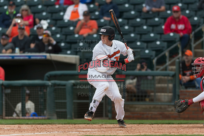 Oregon State Beavers catcher Adley Rutschman (35) at bat during a game against the New Mexico Lobos on February 15, 2019 at Surprise Stadium in Surprise, Arizona. Oregon State defeated New Mexico 6-5. (Zachary Lucy/Four Seam Images via AP)