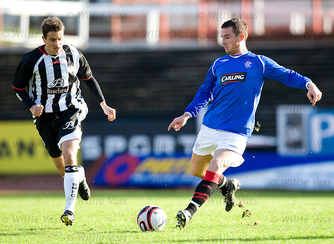 Barry Ferguson makes his return to the Rangers team after ankle surgery in the reserve match at Love Street