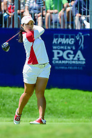 Moriya Jutanugarn (THA) watches her tee shot on 1 during Sunday's final round of the 2017 KPMG Women's PGA Championship, at Olympia Fields Country Club, Olympia Fields, Illinois. 7/2/2017.<br /> Picture: Golffile | Ken Murray<br /> <br /> <br /> All photo usage must carry mandatory copyright credit (&copy; Golffile | Ken Murray)