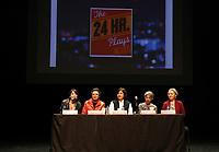 Ciudad de México, 09 diciembre 2019.- Se realizó conferencia de prensa del The 24 Hour Plays México el cual conmemora seis años el próximo 18 de Diciembre. Este proyecto a cargo de Cortejo Producciones y Solovino Producciones realizará su sexta emisión con la participación de 15 actrices, 15 actores, 6 dramaturgos, 6 directores y 6 productores ejecutivos, quienes presentarán al público una obra inédita, escrita, producida y montada, en solo 24 horas, con el fin de recaudar fondos para los pacientes del Instituto Nacional de Cancerología (INCAN), a efecto de que se compren quimioterapias para sus tratamientos. The 24 Hour Plays México, se realizará el Miércoles 18 de Diciembre a las 20:30 horas en el Teatro Helénico, los costos de los boletos son de $500 en luneta y $350 en mezzanine. Las localidades están disponibles en la taquilla del Centro Cultural Helénico, ubicado en Av. Revolución 1500 y en la Página de internet www. helenico.gob. mx.