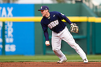 Spencer Barnett (2) of the Oral Roberts Golden Eagles attempts to get a force out at second base during a game against the Missouri State Bears on March 27, 2011 at Hammons Field in Springfield, Missouri.  Photo By David Welker/Four Seam Images