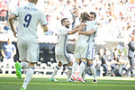 Real Madrid's Daniel Carvajal, Luka Modric and Pepe celebrating a goal during La Liga match between Real Madrid and Atletico de Madrid at Santiago Bernabeu Stadium in Madrid, April 08, 2017. Spain.<br /> (ALTERPHOTOS/BorjaB.Hojas)
