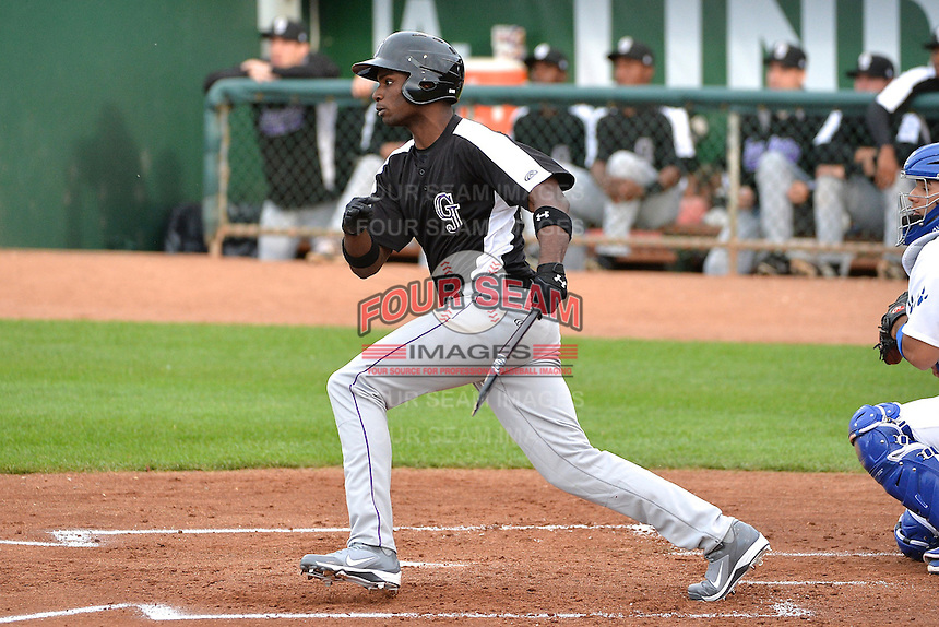 Denzel Richardson (23) of the Grand Junction Rockies at bat against the Ogden Raptors during Opening Night of the Pioneer League Season on June 16, 2014 at Lindquist Field in Ogden, Utah. (Stephen Smith/Four Seam Images)