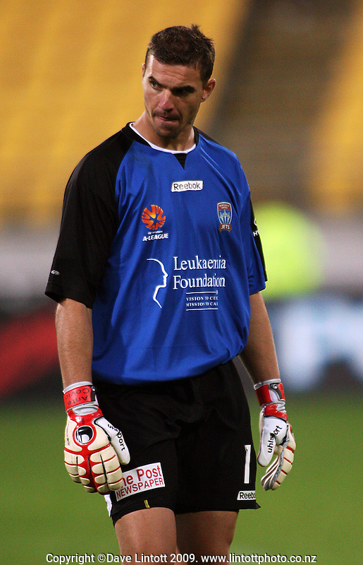 Newcastle keeper Ante Covic after the match during the A-League match between Wellington Phoenix and Newcastle Jets at Westpac Stadium, Wellington, New Zealand on Sunday, 4 January 2009. Photo: Dave Lintott / lintottphoto.co.nz