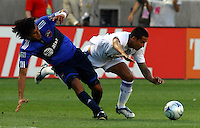 Wilman Conde and Tim Cahill in the MLS All Stars v Everton 4-3 Everton win at Rio Tinto Stadium in Sandy, Utah on July 29, 2009
