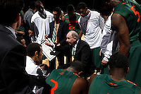 CHARLOTTESVILLE, VA- JANUARY 7: Head coach Jim Larranaga of the Miami Hurricanes coaches his team during the game against the Virginia Cavaliers on January 7, 2012 at the John Paul Jones Arena in Charlottesville, Virginia. Virginia defeated Miami 52-51. (Photo by Andrew Shurtleff/Getty Images) *** Local Caption *** Jim Larranaga