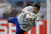 19.04.2012 MADRID, SPAIN - UEFA Europa League 11/12 Semi Finals match played between At. Madrid vs Valencia (4-2) at Vicente Calderon stadium. the picture show Thibaut Courtois (Belgian goalkeeper of At. Madrid)