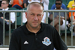 23 June 2012: Edmonton head coach Harry Sinkgraven (NED). The Carolina RailHawks defeated FC Edmonton 2-0 at WakeMed Soccer Stadium in Cary, NC in a 2012 North American Soccer League (NASL) regular season game.
