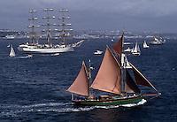 Europe/France/Bretagne/29/Finistère/Brest: Lors de la Fête des Grands Voiliers en fond la ville de Brest - Vue Aérienne