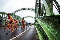 Picture by Alex Whitehead/SWpix.com - 10/09/2017 - Cycling - OVO Energy Tour of Britain - Stage 8, Worcester to Cardiff - The peloton travel over Chain Bridge.