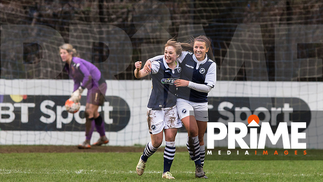 Lucy Loomes (left) of Millwall Lionesses celebrates scoring her teams 3rd goal during the SSE Women's FA Cup 3rd Round match between Watford Ladies and Millwall Lionesses at Berkhamsted FC, Broadwater, England on 7 February 2016. Photo by Andy Rowland.