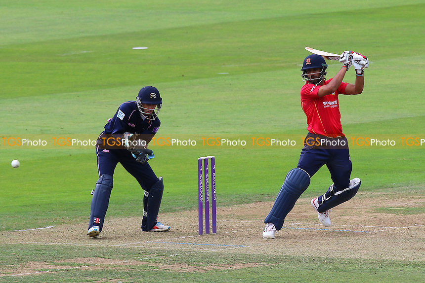 Ravi Bopara in batting action for Essex as John Simpson looks on from behind the stumps during Middlesex vs Essex Eagles, Royal London One-Day Cup Cricket at Lord's Cricket Ground on 31st July 2016
