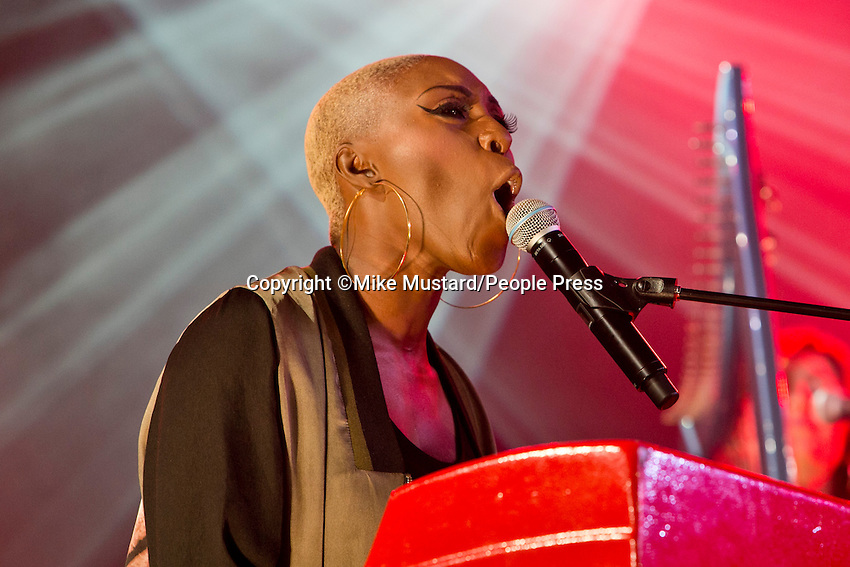 21st July 2013: UK singer Laura Mvula performs on the BBC6 Music stage on the last day of the 2013 Latitude Festival, Henham Park, Suffolk