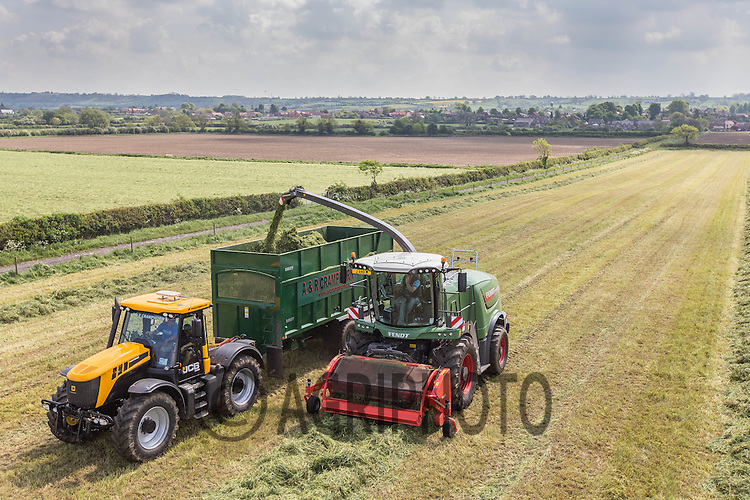 Contractor J &amp; M Contracting using a New Fendt Katana 65 on grass silage for a dairy unit with contractors A &amp; R Cramphorn carting using JCB Fastrac's and Bailey trailers<br /> Picture Tim Scrivener 07850 303986
