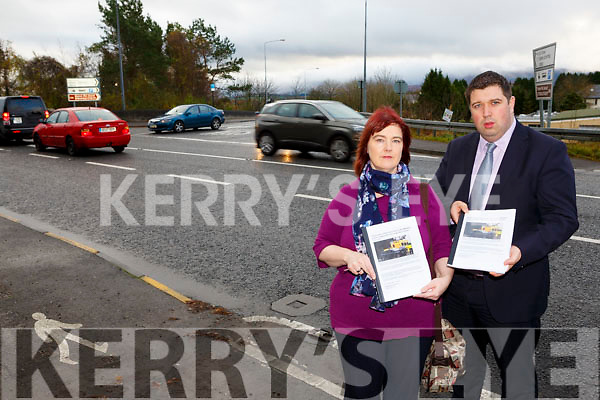 Suzanne Dennehy with Killarney Mayor Niall Kelleher whose sister Annette Mannix was killed at the Lewis road Killarney bypass junction with the petition of over 4000 appealing for changes at the junction