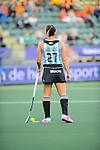 The Hague, Netherlands, June 01: Noel Barrionuevo #27 of Argentina waits for an umpire desicion ready to shoot a penalty during the field hockey group match (Women - Group B) between Argentina and South Africa on June 1, 2014 during the World Cup 2014 at Kyocera Stadium in The Hague, Netherlands. Final score 4:1 (2:0) (Photo by Dirk Markgraf / www.265-images.com) *** Local caption ***
