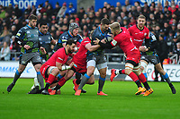 George North of Ospreys in action during the Heineken Champions Cup Round 5 match between the Ospreys and Saracens at the Liberty Stadium in Swansea, Wales, UK. Saturday January 11 2020.