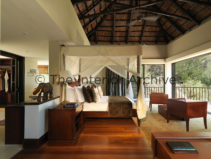The bedrooms of Bilila Lodge in the Serengeti open onto the extensive grounds via a series of sliding glass doors