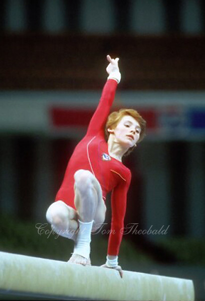 July 23, 1983; Moscow, Soviet Union; Artistic gymnast Elena Shevchenko of Soviet Union performs on balance beam at 1986 Goodwill Games in Moscow.  Copyright 1983 Tom Theobald