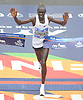 Geoffrey Kamworor reacts as he crosses the finish line in Central Park to win the men's competition in the TCS New York City Marathon on Sunday, Nov. 5, 2017. The Kenyan claimed victory with a time of 2:10.53.