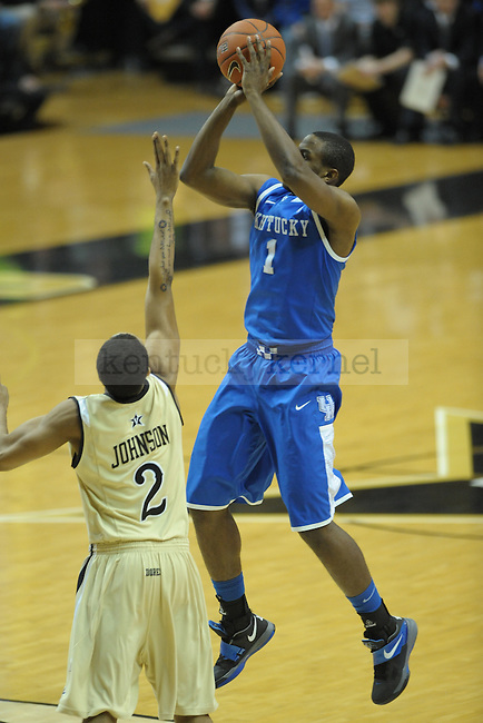 UK's guard Darius Miller takes a jump shot during the first half of the University of Kentucky men's basketball game against Vanderbilt at Memorial Gym in Nashville, Tennessee., on Feb. 11, 2012. UK led 36-23 at half. Photo by Mike Weaver | Staff