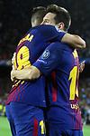 UEFA Champions League 2017/2018 - Matchday 1.<br /> FC Barcelona vs Juventus Football Club: 3-0.<br /> Jordi Alba &amp; Lionel Messi.