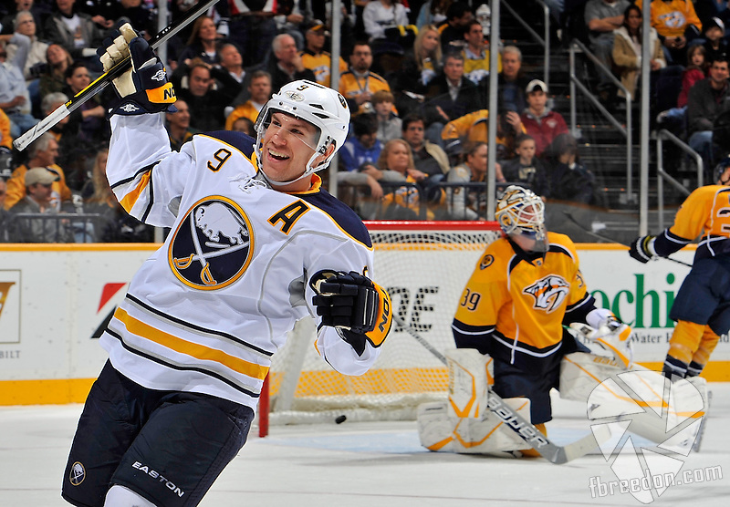 NASHVILLE, TN - DECEMBER 03: Derek Roy #9 of the Buffalo Sabres celebrates the game wining goal against Anders Lindback #39 of the Nashville Predators at the Bridgestone Arena on December 3, 2011 in Nashville, Tennessee.  (Photo by Frederick Breedon/Getty Images)