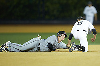 Brett Centracchio (5) of the Davidson Wildcats holds on to second base as Michael Turconi (6) of the Wake Forest Demon Deacons applies a tag at David F. Couch Ballpark on May 7, 2019 in  Winston-Salem, North Carolina. The Demon Deacons defeated the Wildcats 11-8. (Brian Westerholt/Four Seam Images)