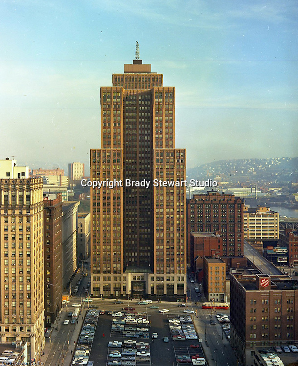 Pittsburgh PA:  View of the Grant Building from the Sherwyn Hotel - 1968.  The Grant Building was built in 1930 and remains an important part of the city's skyline.