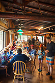 USA, Oregon, Wild and Scenic Rogue River in the Medford District, guest enjoy breakfast at the Paradise Lodge
