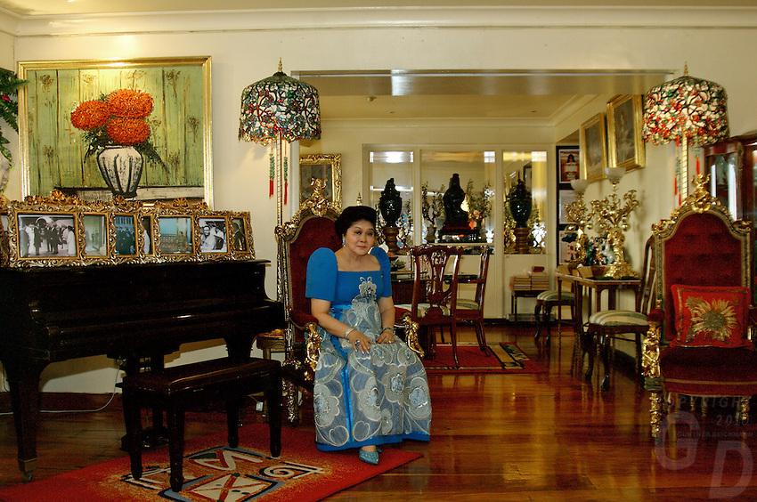 Imelda Marcos, in her appartment in Makati, Manila