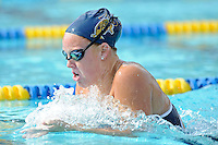 14 January 2012:  FIU's Jeanmarie Madison competes in the 200 yard breaststroke as the FIU Golden Panthers won the meet with the Central Connecticut State University Blue Devils at the Biscayne Bay Campus Aquatics Center in Miami, Florida.