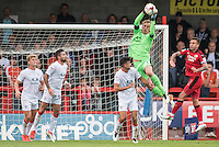 Christian Walton Goalkeeper of Luton Town (1) catches the shot  during the Sky Bet League 2 match between Crawley Town and Luton Town at the Broadfield/Checkatrade.com Stadium, Crawley, England on 17 September 2016. Photo by Edward Thomas / PRiME Media Images.