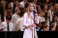 Celine Dion joins 2 finalists choirs at Sainte-Justine Children hospital fundraiser event held at Montreal Symphonic Orchestra new home, July 16, 2014.<br /> <br /> <br /> <br /> Photo : Agence Quebec Presse - Pierre Roussel