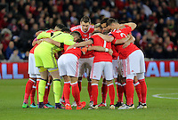 Wales players huddle during the 2018 FIFA World Cup Qualifier between Wales and Serbia at the Cardiff City Stadium, Wales, UK. Saturday 12 November 2016