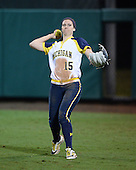 Michigan Wolverines Softball outfielder Nicole Sappingfield (15) during a game against the University of South Florida Bulls on February 8, 2014 at the USF Softball Stadium in Tampa, Florida.  Michigan defeated USF 3-2.  (Copyright Mike Janes Photography)