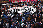 Reclaim the Streets, London. Reclaim the Streets (RTS) is a collective with a shared ideal of community ownership of public spaces. Participants characterize the collective as a resistance movement opposed to the dominance of corporate forces in globalization, and to the car as the dominant mode of transport.<br />