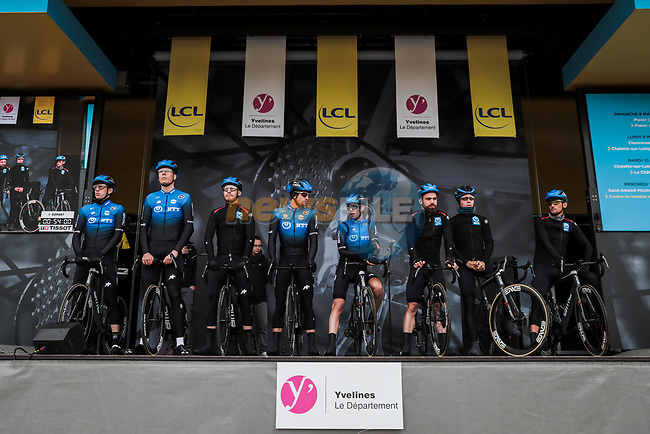 NTT Pro Cycling Team on stage at the Team Presentation before the 78th edition of Paris-Nice 2020, Plaisir, France. 8th March 2020.<br /> Picture: ASO/Fabien Boukla | Cyclefile<br /> All photos usage must carry mandatory copyright credit (© Cyclefile | ASO/Fabien Boukla)