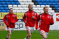 Fleetwood Town warm up during the Sky Bet League 1 match between Peterborough and Fleetwood Town at London Road, Peterborough, England on 28 April 2018. Photo by Carlton Myrie.
