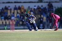 February 26th 2020, the Mahinda Rajapaksha International Stadium, Hambantota, Sri Lanka; One Day International cricket, Sri Lanka versus West Indies; Kusal Medis drops his bat and holds his arm after being hit by the ball