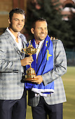 Winning European Team Players Martin Kaymer (GER) and Sergio Garcia (ESP) after Sunday's Singles Matches of the 39th Ryder Cup at Medinah Country Club, Chicago, Illinois 30th September 2012 (Photo Colum Watts/www.golffile.ie)