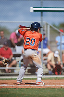 Caeden Trenkle during the WWBA World Championship at the Roger Dean Complex on October 19, 2018 in Jupiter, Florida.  Caeden Trenkle is an outfielder from Hillsboro, Texas who attends Hillsboro High School and is committed to Oklahoma State.  (Mike Janes/Four Seam Images)