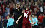 Jurgen Klopp manager of Liverpool celebrates with Jordan Henderson of Liverpool after the Champions League playoff round at the Anfield Stadium, Liverpool. Picture date 23rd August 2017. Picture credit should read: Lynne Cameron/Sportimage